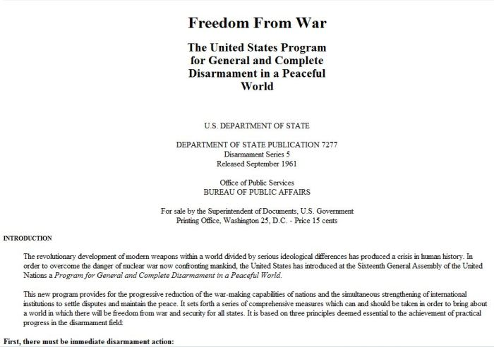 The United States Program for General and Complete Disarmament in a Peaceful World