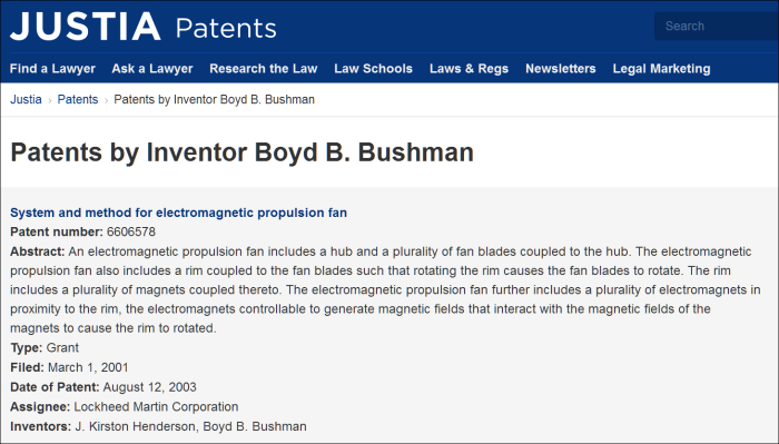 Boyd B. Bushman's many patents